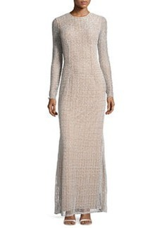 Carmen Marc Valvo Long-Sleeve Round-Neck Gown, Silver