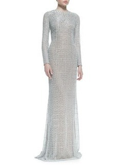 Carmen Marc Valvo Long-Sleeve Sequined Gown, Silver
