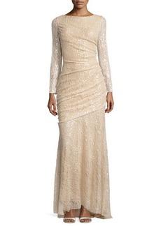Carmen Marc Valvo Long-Sleeve Sequined Mermaid Gown  Long-Sleeve Sequined Mermaid Gown