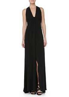 Carmen Marc Valvo Low-Cut Sleeveless Jersey Gown, Black