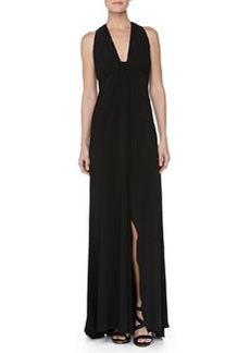 Carmen Marc Valvo Low-Cut Sleeveless Jersey Gown, Black