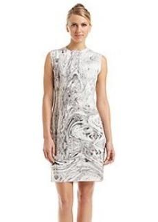 Carmen Marc Valvo Marble Swirl Print Sheath Dress