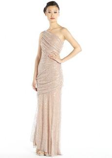 Carmen Marc Valvo mauve sequined lace one shoulder draped gown