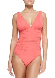 Carmen Marc Valvo Mediterranean Solids Ruched Maillot Swimsuit, Coral