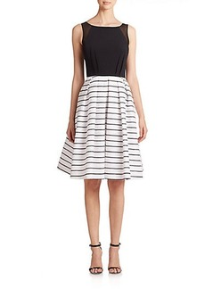 Carmen Marc Valvo Mesh-Detail Crepe & Brocade Dress