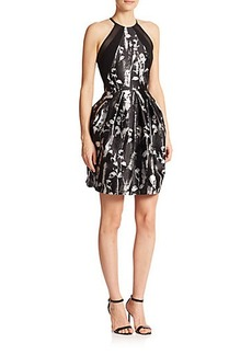 Carmen Marc Valvo Mesh-Detail Floral-Print Faille Dress