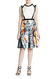 Carmen Marc Valvo Mesh-Trimmed Floral A-Line Dress