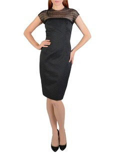 CARMEN MARC VALVO Mesh-Yoke Polka Dot Dress