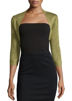 Carmen Marc Valvo Metallic 3/4-Sleeve Shrug, Apple