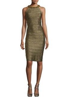 Carmen Marc Valvo Metallic Beaded-Neck Cocktail Dress