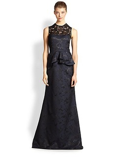 Carmen Marc Valvo Metallic Brocade & Lace Gown
