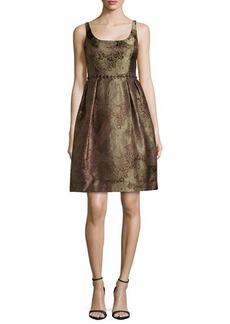 Carmen Marc Valvo Metallic Brocade Cocktail Dress with Beading