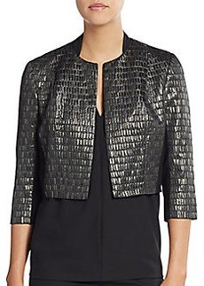 Carmen Marc Valvo Metallic Brocade Crop Jacket