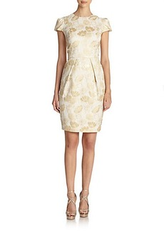 Carmen Marc Valvo Metallic Brocade Dress