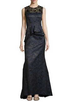 Carmen Marc Valvo Metallic Brocade Gown with Lace Accent