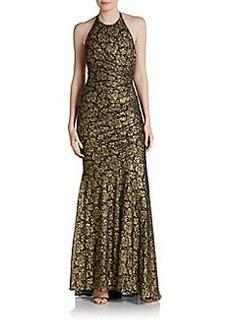 Carmen Marc Valvo Metallic Brocade Halter Gown