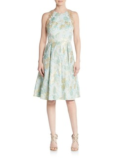 Carmen Marc Valvo Metallic Floral A-Line Dress