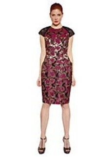 CARMEN MARC VALVO Metallic Floral Embroidered Dress