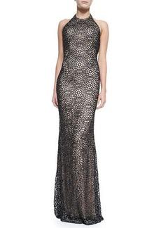 Carmen Marc Valvo Metallic Floral Halter Gown