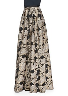 Carmen Marc Valvo Metallic Floral Jacquard Ball Skirt