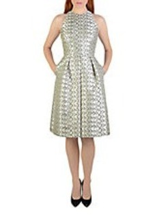 CARMEN MARC VALVO Metallic Geo Print A-Line Dress
