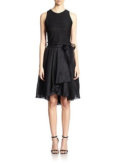 Carmen Marc Valvo Metallic Knit & Silk Organza Cocktail Dress