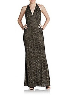 Carmen Marc Valvo Metallic Lace Halter Gown