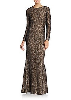 Carmen Marc Valvo Metallic Lace Mermaid Gown