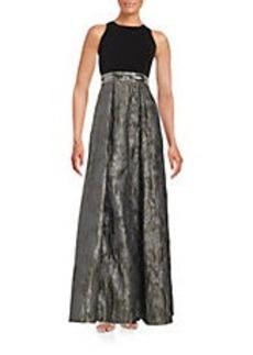 CARMEN MARC VALVO Metallic Print Gown