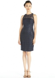 Carmen Marc Valvo midnight sequined metallic lace illusion neck cocktail dress