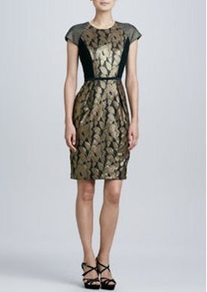 Carmen Marc Valvo Mixed Media Brocade Cocktail Dress