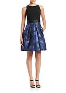 CARMEN MARC VALVO Mixed-Media Fit-and-Flare Dress