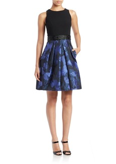 CARMEN MARC VALVO Mixed-Media Fit-and-Flare Dress