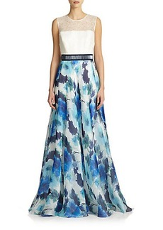 Carmen Marc Valvo Mixed-Media Floral Gown