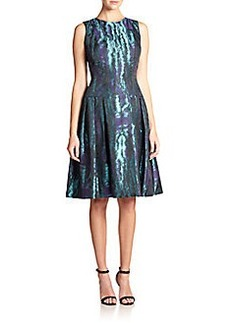 Carmen Marc Valvo Moire Fit-&-Flare Dress