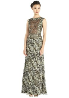 Carmen Marc Valvo moss green printed silk beaded illusion panel ruched gown