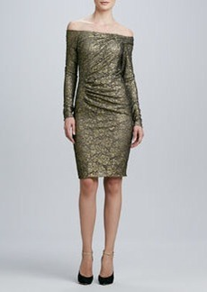 Carmen Marc Valvo Off-the-Shoulder Long-Sleeve Cocktail Dress