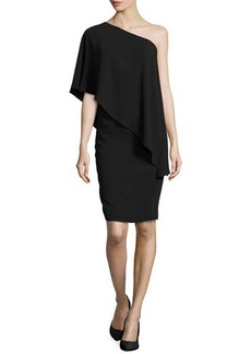 Carmen Marc Valvo One-Shoulder Cape Cocktail Dress, Black