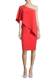 Carmen Marc Valvo One-Shoulder Cape Cocktail Dress, Poppy