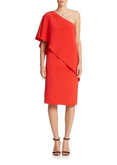 Carmen Marc Valvo One-Shoulder Capelet Dress