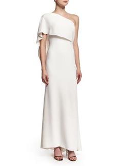 Carmen Marc Valvo One-Shoulder Capelet Gown