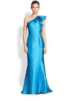 Carmen Marc Valvo One-Shoulder Ruffle-Trim Gown