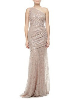 Carmen Marc Valvo One-Shoulder Sequin Gown