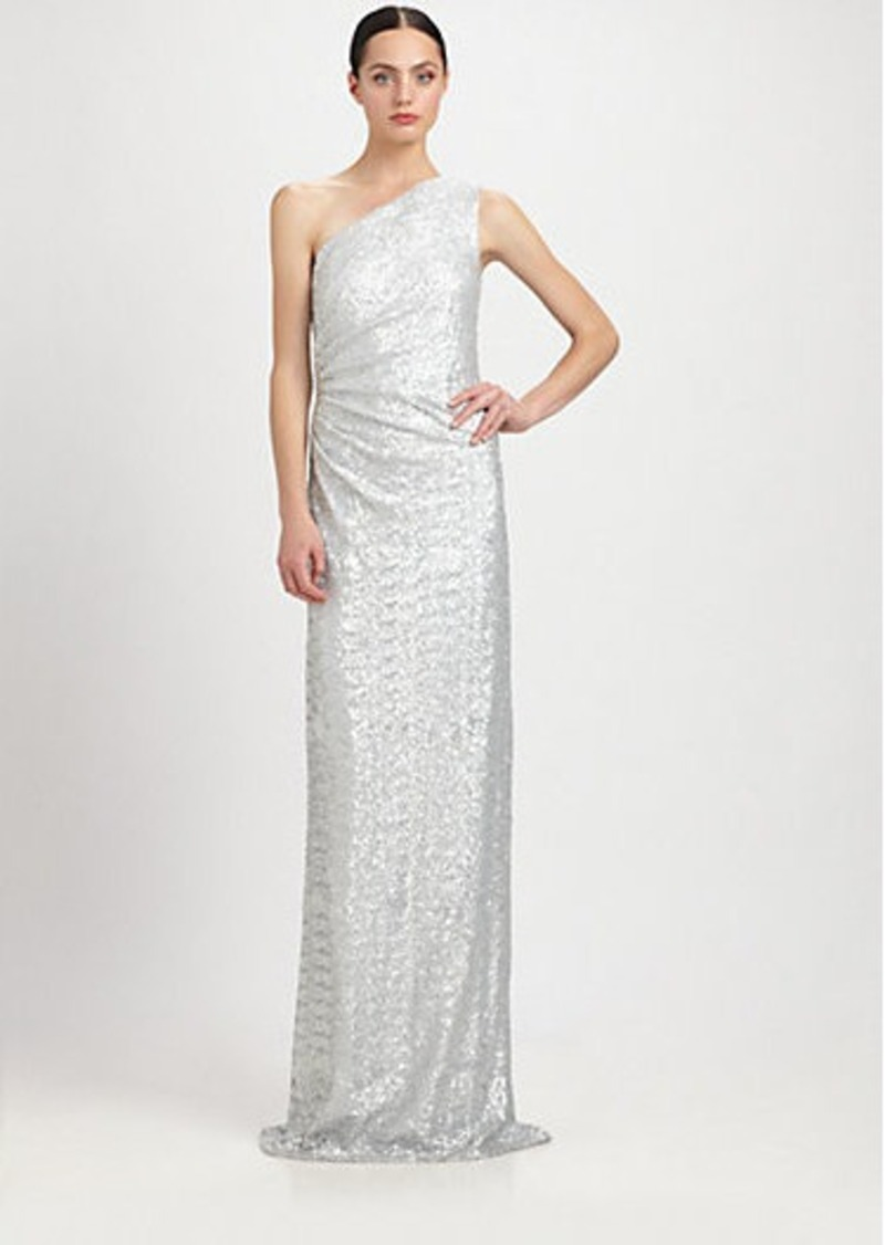 Carmen Marc Valvo One-Shoulder Sequined Gown