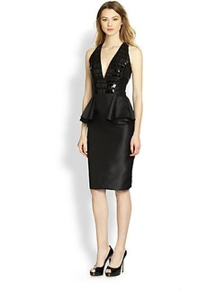 Carmen Marc Valvo Patent-Detailed Peplum Cocktail Dress