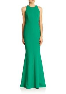 Carmen Marc Valvo Pebble Crepe Cutaway Gown