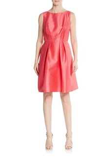 Carmen Marc Valvo Pleated A-Line Pocket Dress