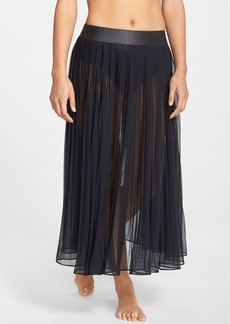 Carmen Marc Valvo Pleated Chiffon Cover-Up Skirt