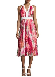 Carmen Marc Valvo Pleated Floral-Print Halter Dress
