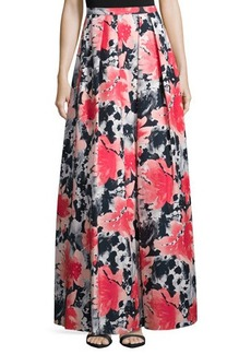 Carmen Marc Valvo Pleated Floral-Print Long Skirt